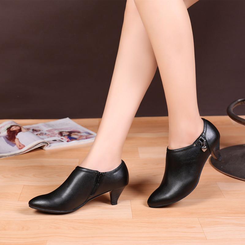 秋冬真皮工作鞋女黑色低跟正装皮鞋加绒深口单鞋中跟职业工装女鞋