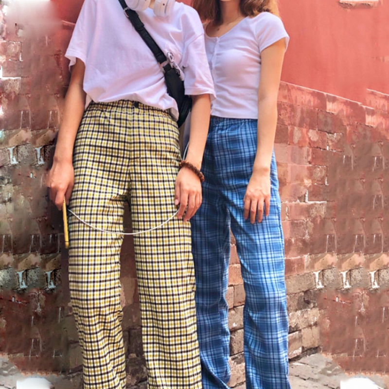 Brandy custom Melville pants versatile wide foot high waist show thin blue plaid fashion mop pants women