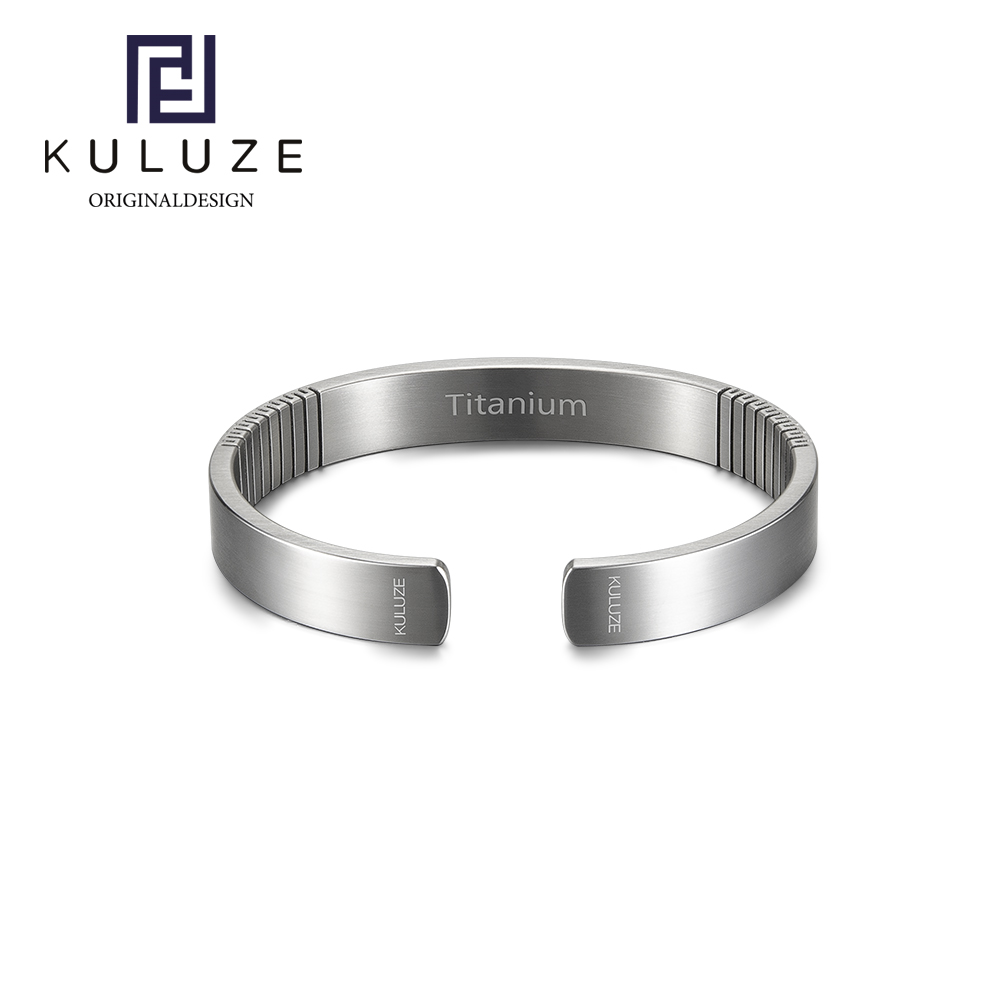 Kuluze pure titanium European and American mens and womens lovers fashion opening Golf ultra light Bracelet Cuff outdoor