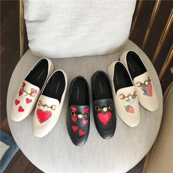 TS52786#春新款舒适百搭橡胶软底珍珠扣女鞋