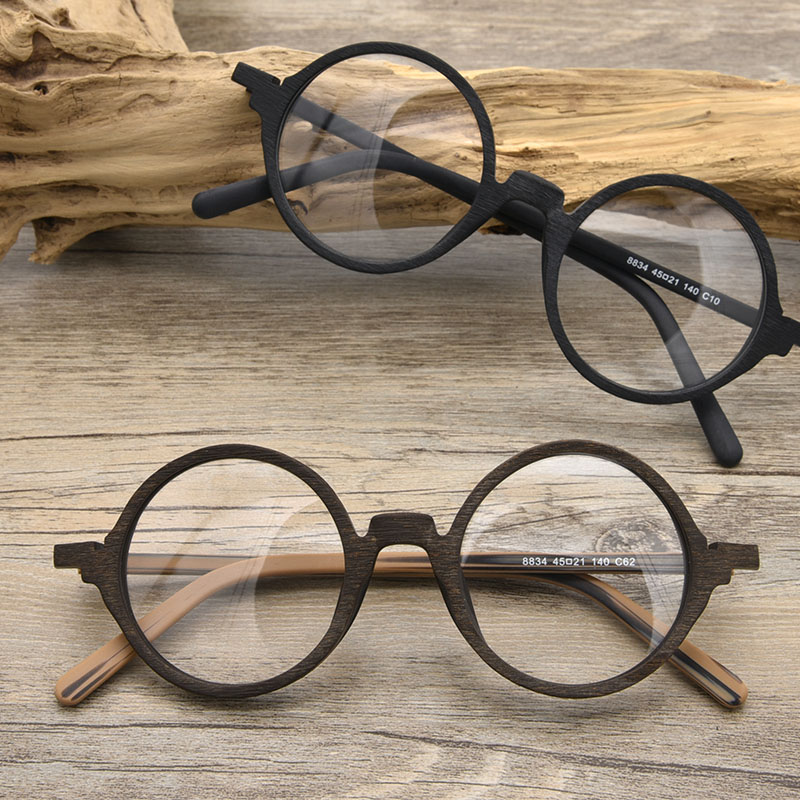 Handmade wooden spectacle frame round eye frame Japanese Chaoren spectacles mens plate spectacle frame can be equipped with power glasses