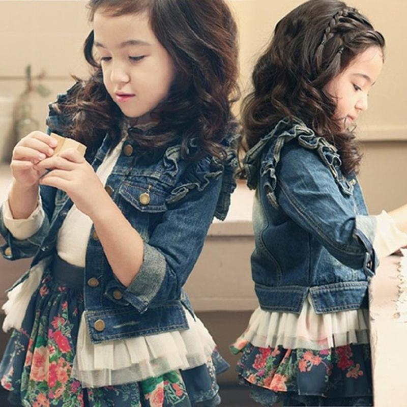 2020秋装新款韩版女童牛仔外套女孩蕾丝边长袖上衣春童装开衫褂子