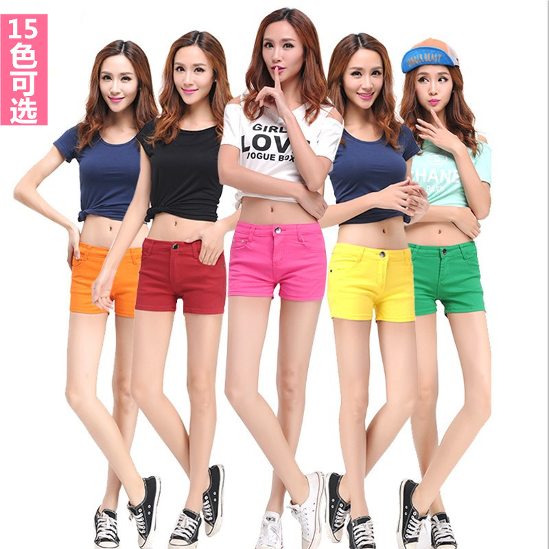 2020 spring and summer new candy color denim shorts womens wear show thin womens pants slim fit hot pants womens casual pants