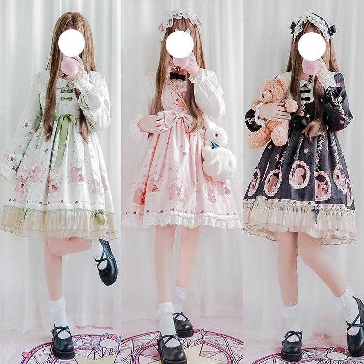 日系軟妹服洛麗塔鬆林物語裙子洋裝高腰lolita連衣裙op甜美少女生