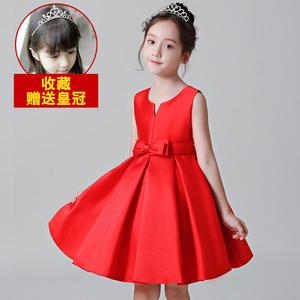 女童连衣裙2019新款夏季韩版儿童公主裙时尚小女孩超洋气红色裙子