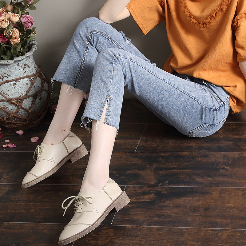 Seven point micro pull jeans womens high waist elastic Korean version with holes and forks to show thin spring and summer new nine point horn pants