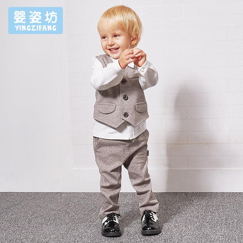 婴姿坊男童西装套装三件套英伦儿童秋装套装礼服男孩小童洋气西服