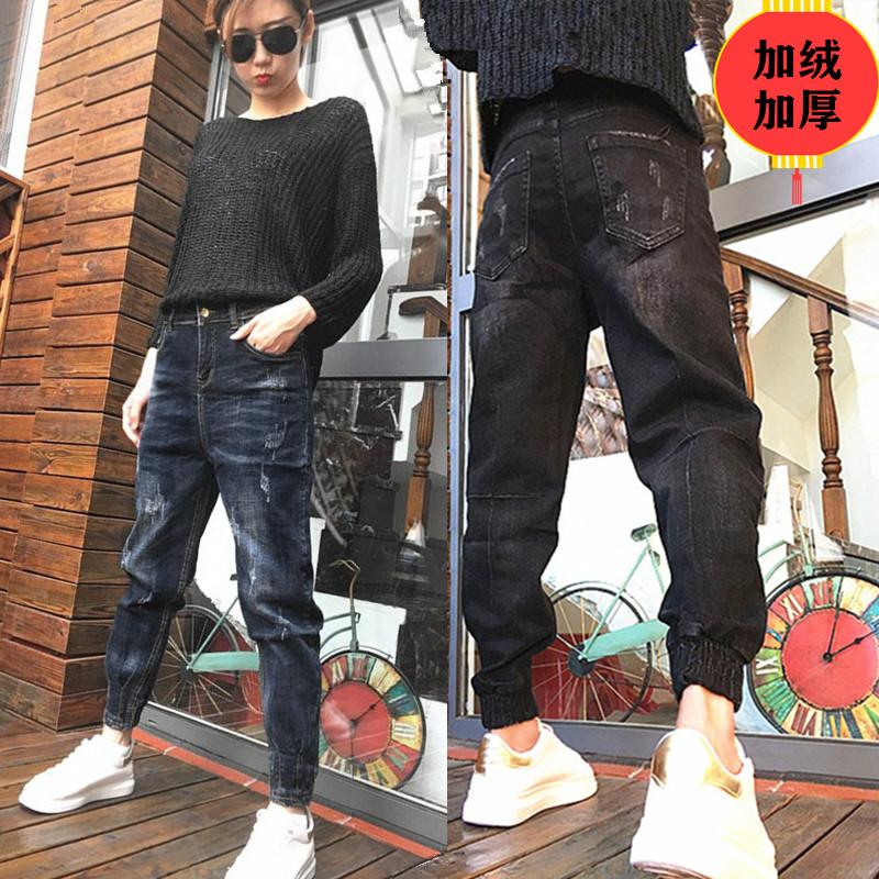 冬季韩版牛仔哈伦裤女款加绒加厚老爹裤宽松显瘦垮裤学生束脚裤bf