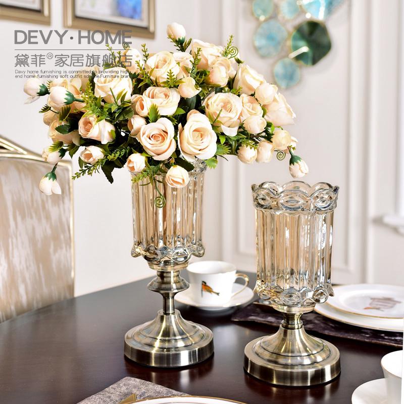欧式轻奢水培玻璃花瓶美式创意客厅餐桌装饰插花摆件仿真花艺套装