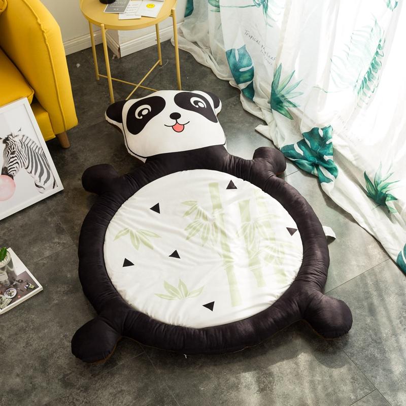 卡通儿童熊猫狮子榻榻米懒人床 沙发床床垫加厚地铺睡垫毛绒玩具