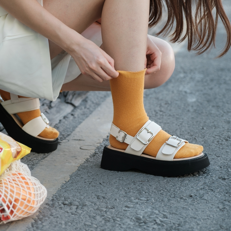 柒步森林文艺松糕厚底露趾双搭扣软平底凉鞋子女士夏季2021年新款