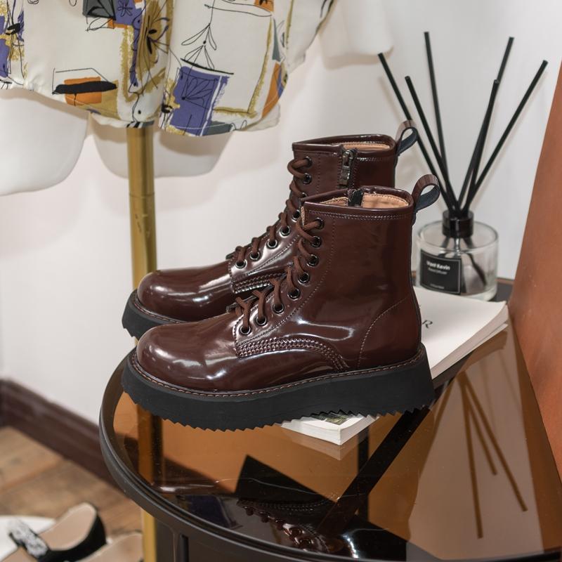 柒步森林厚底小个子马丁靴子女短靴英伦风春秋单靴2021年新款加绒