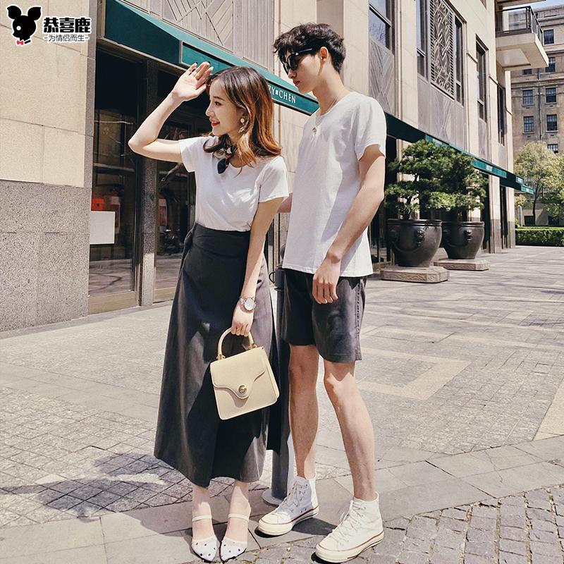 情侣装夏装2019新款情侣套装短袖T恤小众设计感气质修身连衣裙子