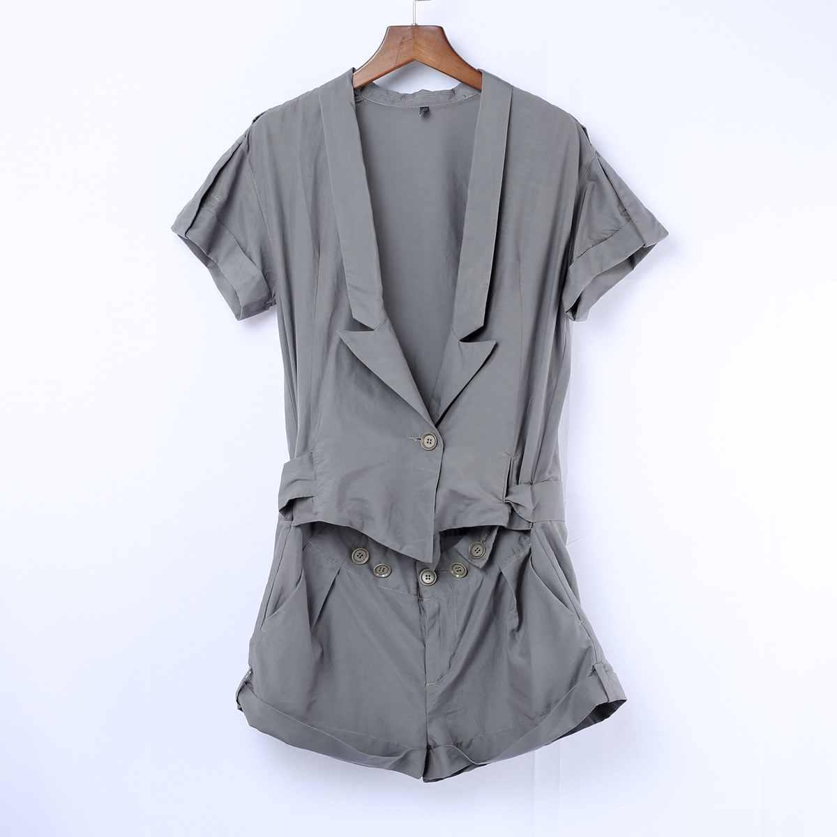 【瑕疵】【剪】老款布衣原创深灰色潮流时尚短袖连身短裤 5A43452