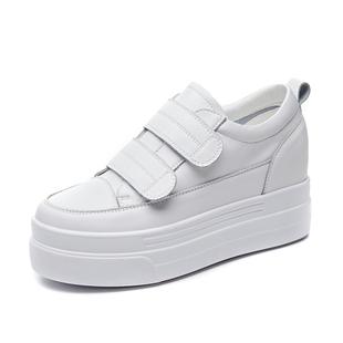 真皮鞋子2020新款女休閒鞋魔術貼小白鞋百搭厚底懶人鞋內增高女鞋