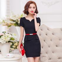 职业装连衣裙女夏季2021修身显瘦ol气质假两件短袖包臀大码工作服