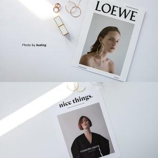 ins冷淡風大牌雜誌卡片套裝 拍照道具網紅牆面裝飾貼牆攝影背景紙