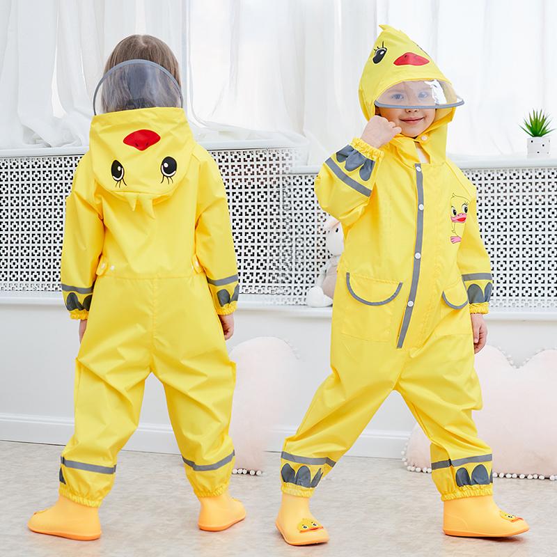 Visitors childrens one-piece protective raincoat duckling shape boys and girls childrens big hat brim raincoat