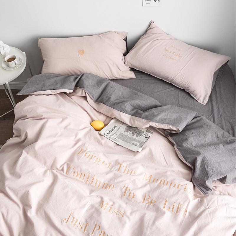 热销268件正品保证北欧水洗棉ins刺绣三件套网红床单