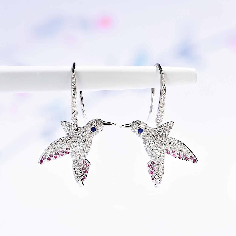 宝石矿工 18k白金小鸟钻石耳钩伴镶天然蓝宝石 时尚个性耳钉耳环