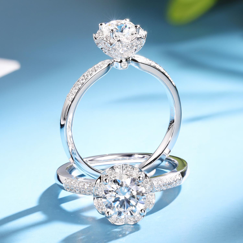 宝石矿工 50分钻戒女正品1克拉钻石婚戒花朵求婚钻石戒指满2480.00元可用1元优惠券