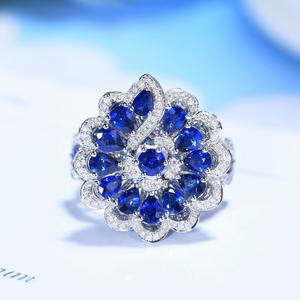 宝石矿工 18k白金天然克拉水滴蓝宝石钻石戒指 复古奢华钻戒女戒