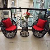 藤椅三件套阳台桌椅茶几藤条椅组合休闲户外庭院藤编桌椅咖啡酒店