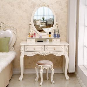 欧式梳妆台网红ins卧室多功能公主小户型现代简约化妆台桌柜带灯