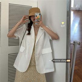 糖果色小西服上衣2020新款夏季女装韩版百搭薄款宽松短袖西装外套