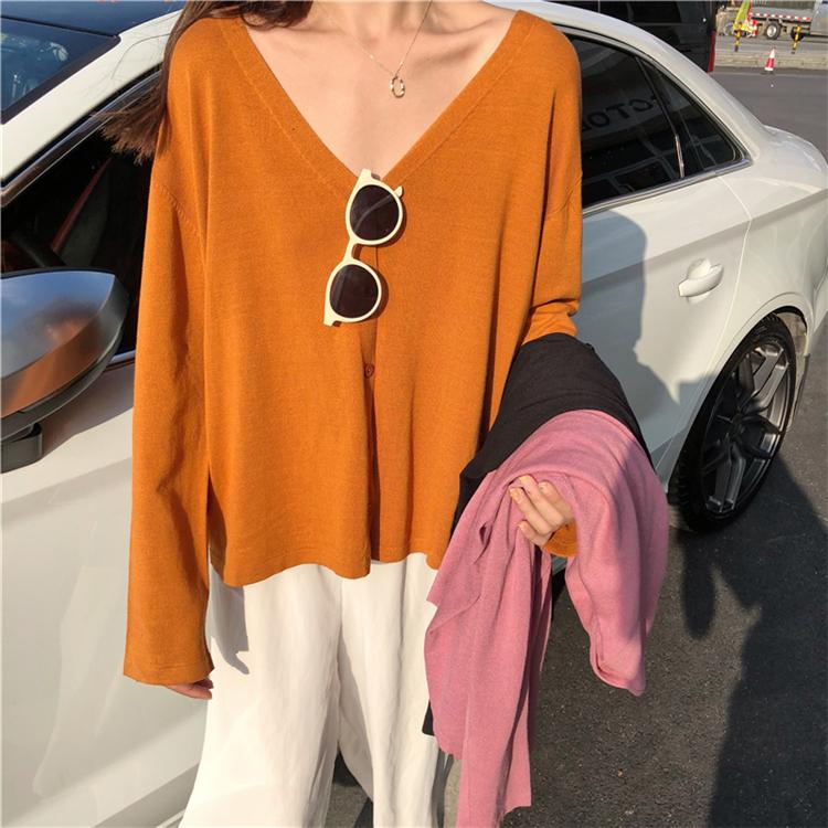 秋装韩版女装宽松V领单排扣长袖毛衣开衫慵懒百搭针织衫上衣外套
