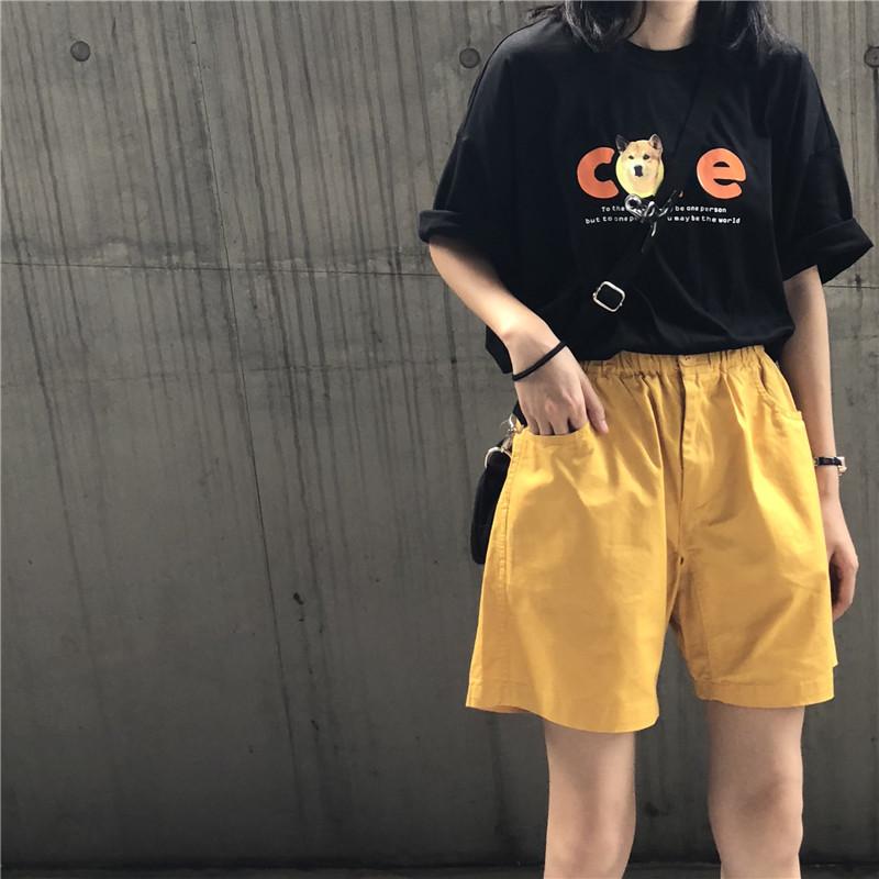 夏装韩版女装chic宽松印花短袖T恤套装+工装休闲短裤阔腿裤两件套
