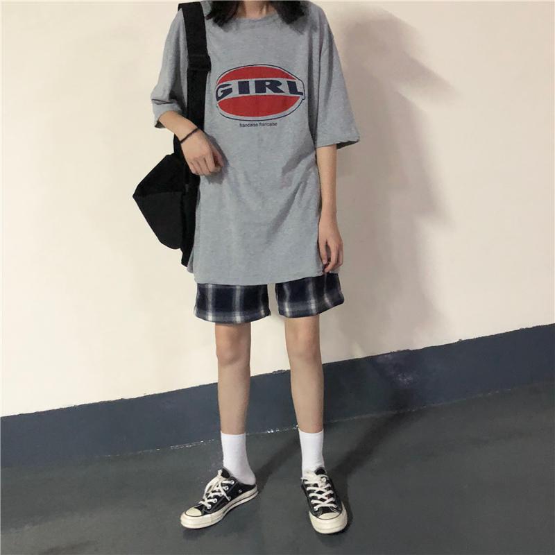 夏装韩版女装印花短袖T恤上衣套装+复古格子休闲中裤时尚两件套