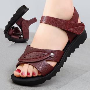 妈妈鞋凉鞋女鞋夏季平底中年防滑软底舒适中老年奶奶老人沙滩图片