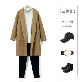 【套装】2019冬季新款男士风衣中长款呢子大衣男韩版潮流毛呢外套图片