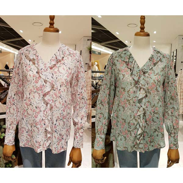 Spring style ~ island home ~ sweet rose pattern moon tooth lotus leaf lace skin friendly cotton print shirt