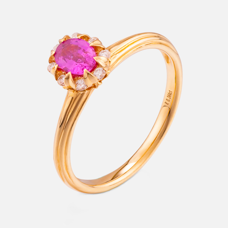 Opening ring red tourmaline S925 silver plating rose gold ring womens Ruby crystal ring