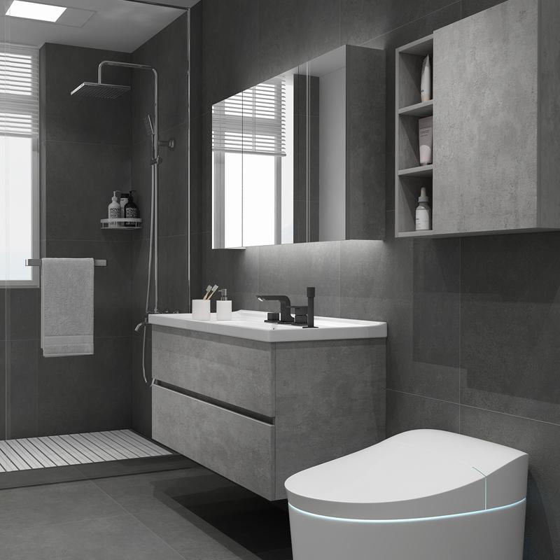 智能北欧浴室柜组合现代简约洗手盆柜洗脸盆柜卫生间洗漱台卫浴柜