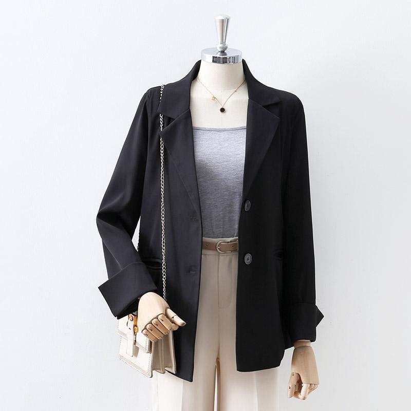 黑色西装女韩版气质休闲小个子职业装长袖宽松单排扣小西服外套