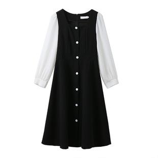 2020春秋新款法式復古方領假兩件過膝中長裙收腰氣質長袖連衣裙女