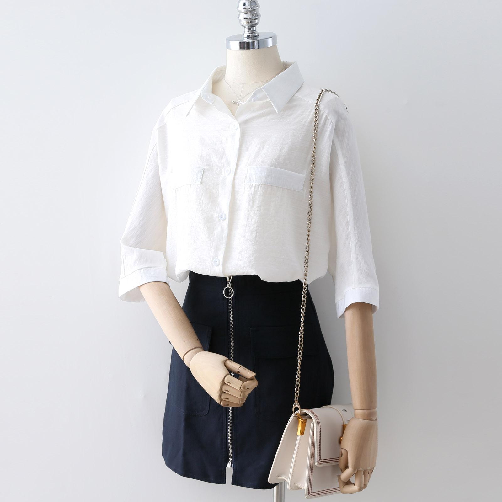 2018夏�b新款�n版中袖�r衫女��松休�e百搭白色棉麻�r衣短袖C892