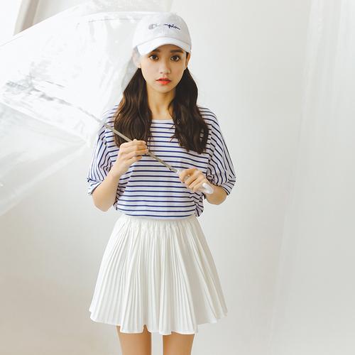 实拍   夏季大码纯棉宽松海军风短袖圆领条纹T恤女
