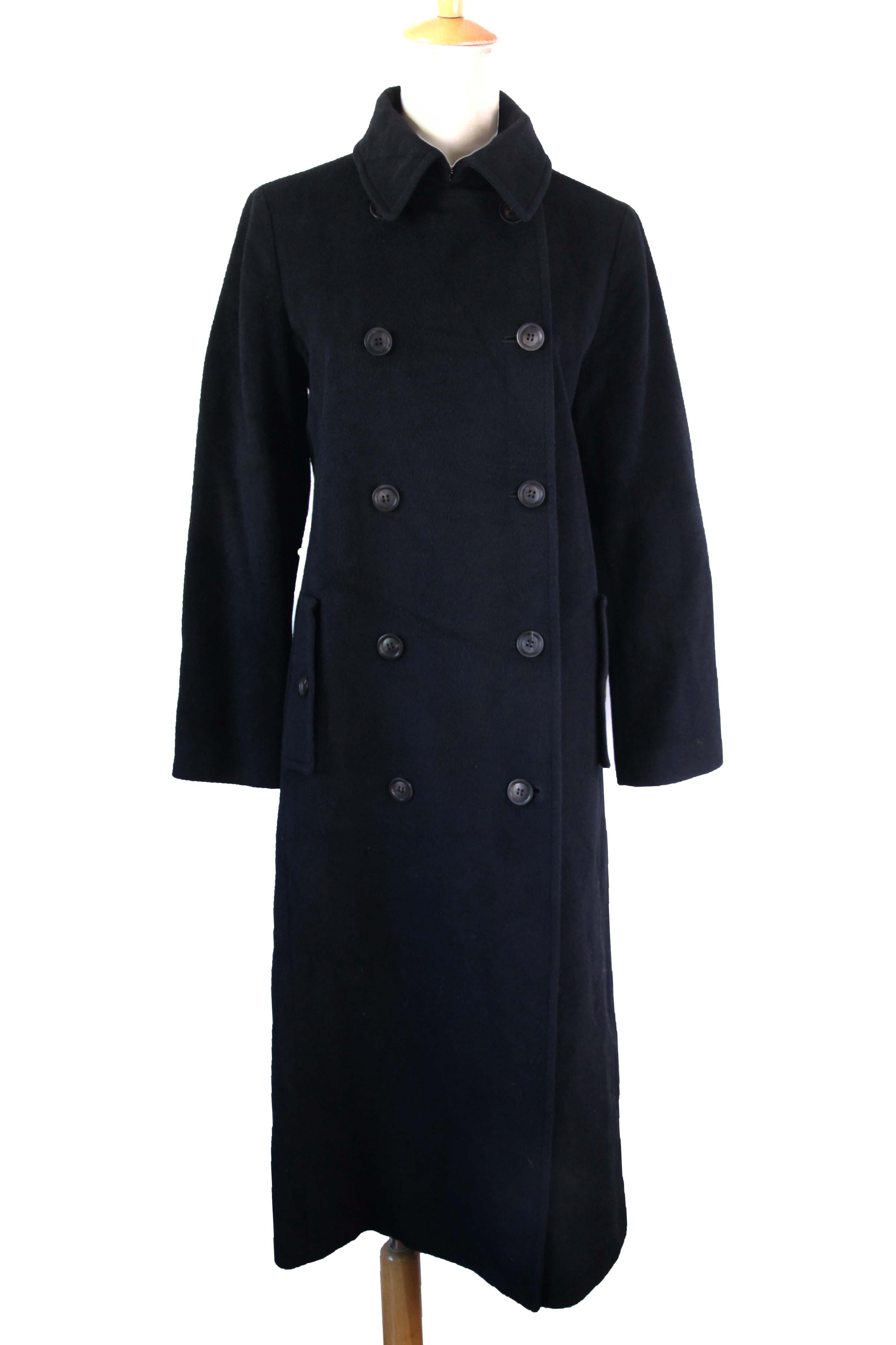 vintage古着复古 收腰气质贵牌黑色加长款羊毛呢大衣精品推荐