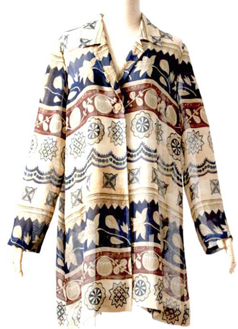 vintage古着复古艺术手绘一粒扣宽松印花长袖开衫衬衫中长款直筒