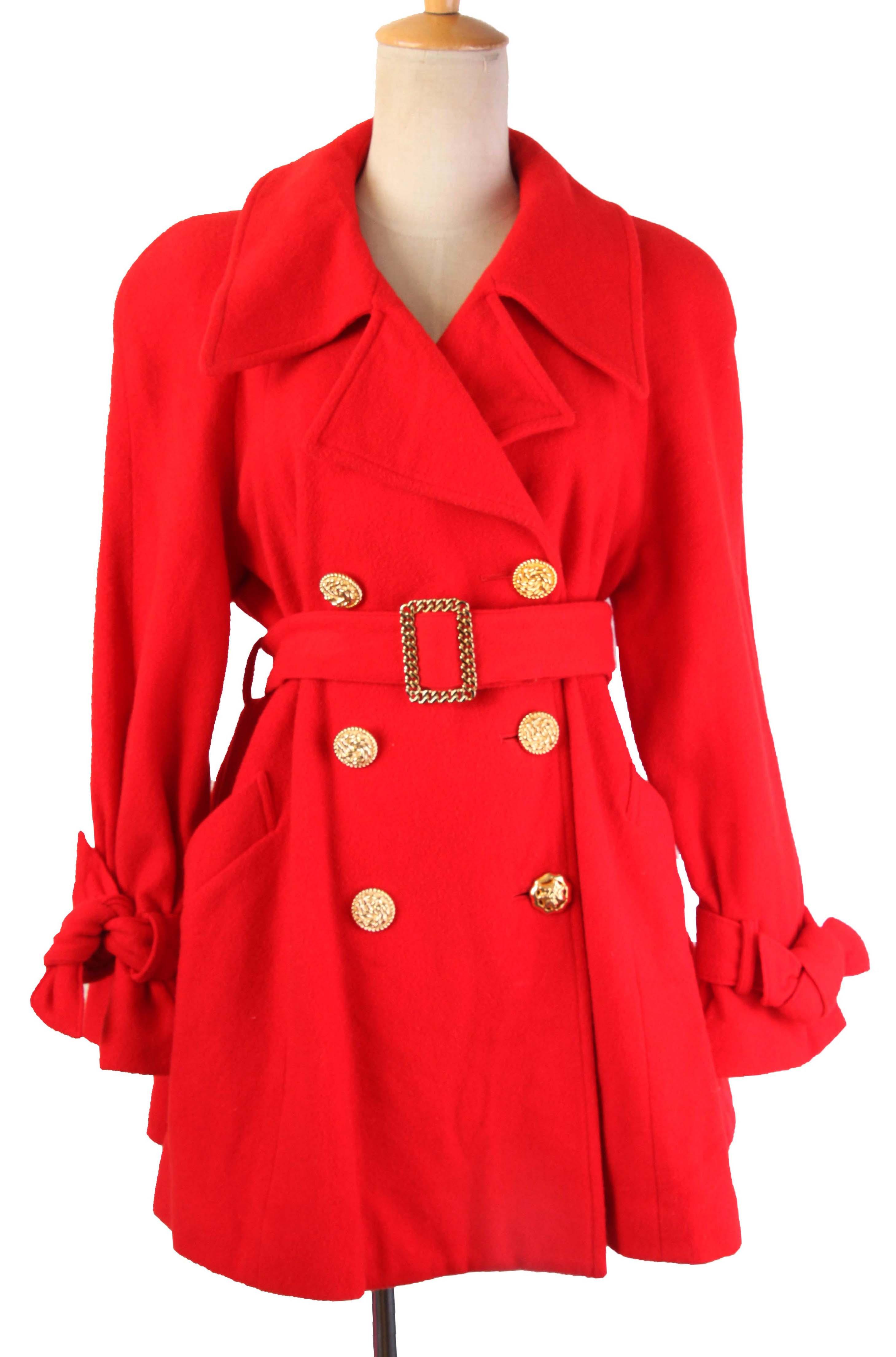 Vintage classic elegant red windbreaker coat waist down wool coat