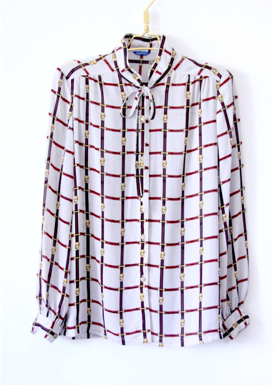 Vintage Art Style trumpet pattern printed bow tie Long Sleeve Chiffon shirt recommendation
