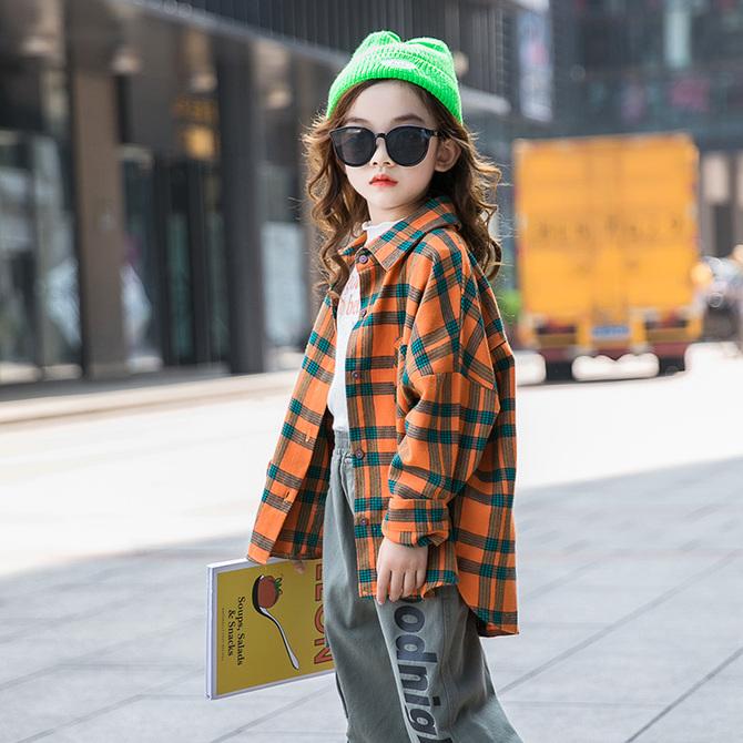 春秋上衣儿童开衫 秋装 衬衫 洋气中大童时髦长袖 款 2020新 潮 女童格子