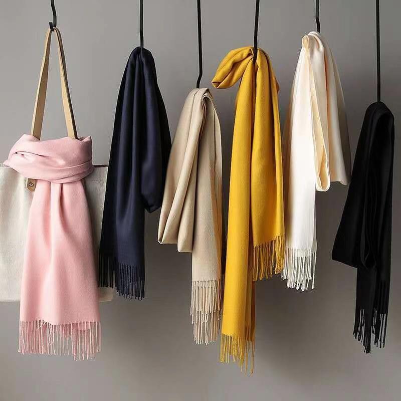 围巾女冬季秋韩版学生百搭可爱女棉麻防羊毛羊绒披肩ins两用纯色