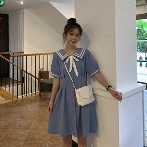 大码女装夏季超仙日系法式连衣裙适合胖妹妹的复古收腰海军领裙子