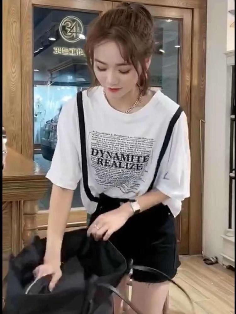 设计感小众短袖T恤女夏港风宽松字母烫钻印花小衫欧货纯棉上衣潮