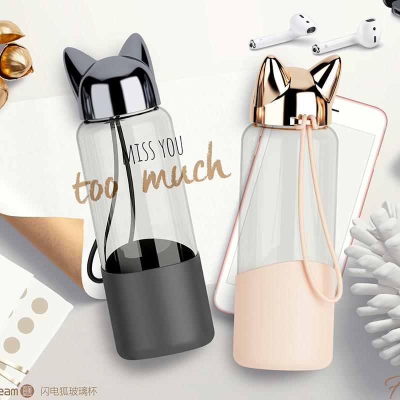 玻璃杯女可爱创意潮流便携清新简约杯子韩版韩国学生少女水杯超萌